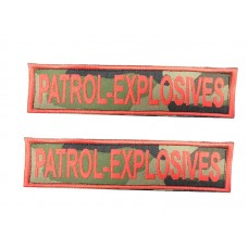 Badge For Service Dog Harness - PATROL EXPLOSIVES - (pair)