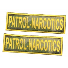 Badge For Service Dog Harness - PATROL NARCOTICS - (pair)