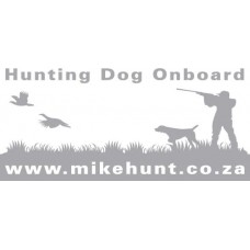 Bumper Sticker HUNTING DOG ONBOARD White